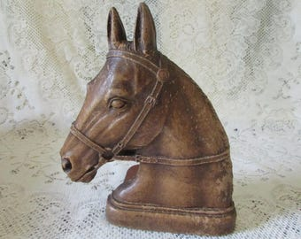 Horse Book End, VINTAGE horse head fine, elegant as a bookend, VTG horse collector