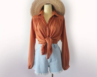 Vintage 70's Burnt Orange Polyester Long Sleeve Button Up Blouse Size Large XL