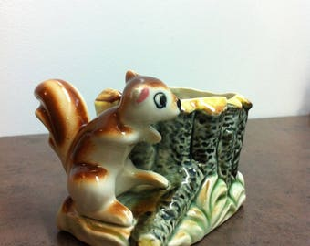Vintage Planter - Chipmunk Decorated Plant Holder - Ceramic Planter - Window Sill Decor - Gift for Collector
