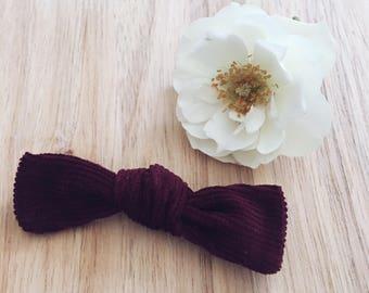 Burgandy corduroy bow