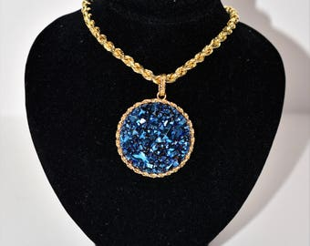 40% OFF SALE!! One of a Kind Showstopper 12ct Druzy 14kt Yellow Gold Pendant Necklace