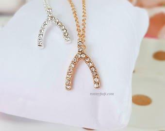 Wishbone Necklace - Wishbone Jewelry - Chicken Bone - Bones - Bone Necklace - Bone Jewelry - Chance - Rhinestone - Christmas Gift - Sister
