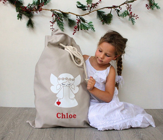 Personalised Santa Sack Angel with Red Heart