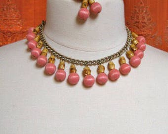 Necklace Set Mad Men era Vintage Pink Thread Bamboo Choker