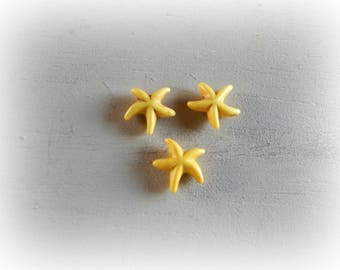 3 beads 15 mm yellow howlite starfish
