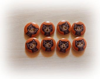 8 cat 15 mm wooden buttons