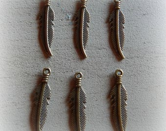6 feather charms bronze 27 * 6 mm