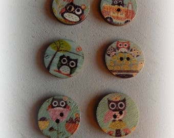 6 buttons round OWL / OWL multicolor 20 mm