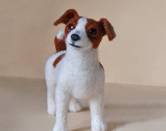 Needle Felted Jack Russell Terrier Miniature Dog . Needle felted animal. Dog portrait.