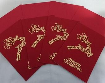 Die cut reindeer Christmas Cards (pack of 4)