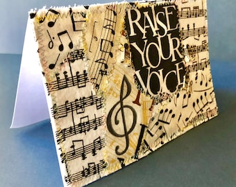 Singer's music note card 4x6 fabric quilted suitable for framing