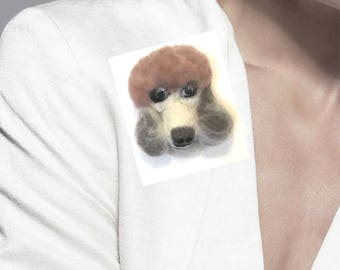 Taupe Poodle Lapel Pin, Needle Felted Brooch.