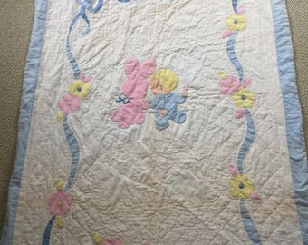 Baby Vintage baby quilt handmade pink back - super soft- no holes -  except some discoloration - see attached.