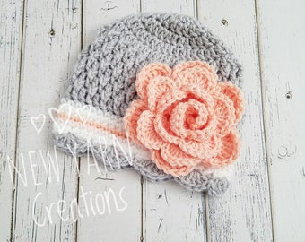 Girls Hat, Crochet Girls Hat, Girls Winter Hat, Baby Girl, Crochet Flower Hat, Toddler Crochet Hat, Hats for Girls, Kids Hat, MADE2ORDER