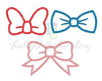 Set of 3 Bow Machine Embroidery Designs, Bow Applique Machine Embroidery Designs, Bow Tie Applique Design, Bow Tie Embroidery Design 0020