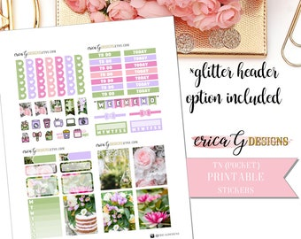 PRINTABLE TN KIT: Garden Party/Erin Condren Vertical/Printable/Digital/Weekly Kit
