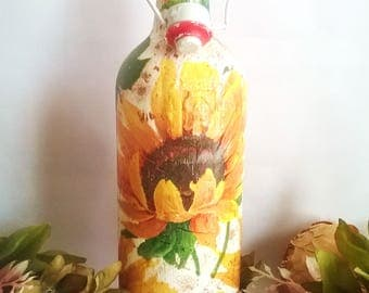 Decorative bottle, decoupage bottle, fall decor, sunflower decor, rustic decor, thanksgiving decor, kitchen decor, gifts for her