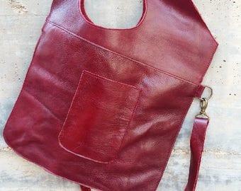 MINIMALIST PRACTICAL BAG-Tote Leather Bag- shoulder leather bag- crossbody bag- red leather bag- original flat bag