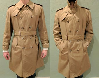Men's Classic 1950's Trench Coat, Wool Lined Tan Khaki Vintage Mad Men Trench Coat, Double Breasted Mercedes Trench Long Rain Jacket, Medium