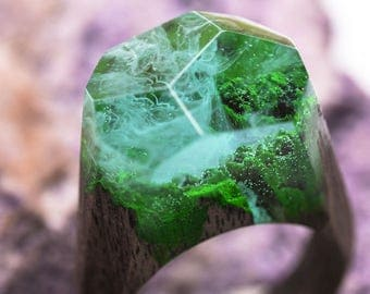 Waterfall wooden resin ring Eco epoxy jewelry Green Wood the secret of the magical world in a tiny landscape in every decoration