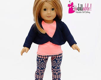 American made Girl Doll Clothes, 18 inch Doll Clothing, Draped Cardigan, Tank Top, Leggings made to fit like American Girl Doll Clothes