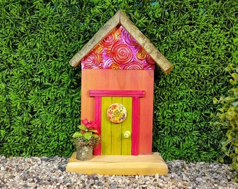 Lime Green Fairy Door with Wooden Floral Button and a Fairy Flower Pot