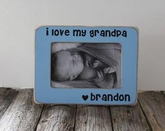 I Love You Grandpa Picture Frame, Grandpa Gift, Rustic Picture Frame, Father's Day Gift, Gift for Papa
