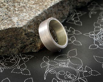 Brushed Sterling Silver Ring Oxidized Patina