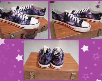 "Shoes type Converse Low theme ""Blue/Violet Galaxy"""