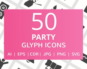 50 Party Glyph Icons