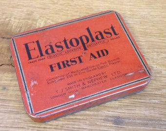Vintage Red Elastoplast First Aid Tin, Great Retro Medical Tin. In Good Condition