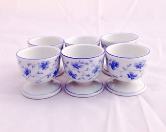 Arzberg egg cups, Vintage egg cups, blue white eggcups, Home and Living, Kitchen and Dining, collectible egg cups, Porcelain egg cups