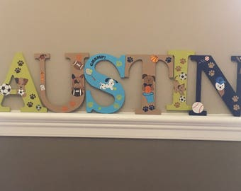 Custom Lambs & Ivy Bow Wow inspired hand painted letters