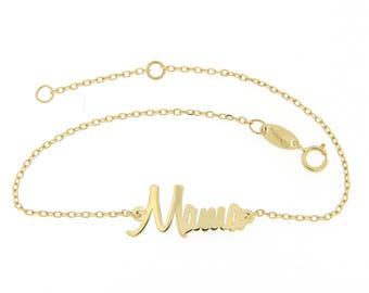 Mom Bracelet, Bracelet for Mom, New Mom Gift, Personalized Bracelet, Name Bracelet, Gold Mom Bracelet, Mama Bracelet, 14K Solid Gold GB0588