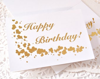 Set of 2 Gold Foil Happy Birthday Cards, Birthday Card, Gold Foil Card