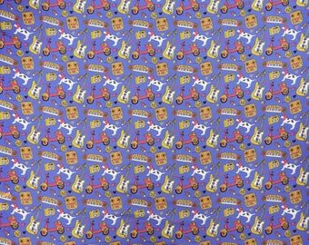 """Indian Cotton Fabric, Cartoon Print, Light Purple Fabric, Quilt Material, 46"""" Inch Home Decor Fabric By The Yard ZBC8569B"""