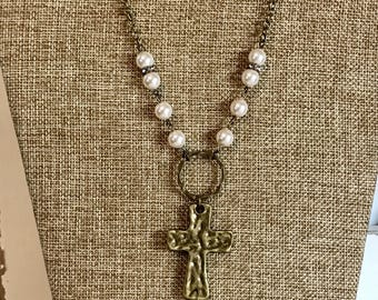 Antique bronze pearl cross and heart necklace