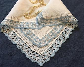 Something Blue Hankie, FREE SHIPPING Vintage Bridal Wedding Handkerchief Something Old Handkerchiefs Hankies Hanky Bridal Shower Gift Hanky