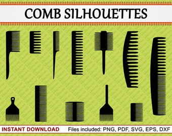 Comb Silhouettes, Set of 12 Commercial Use Clipart, Comb Clipart, Hairdresser, Barber, Salon, Hairbrush, Brush, pdf png eps dxf svg files