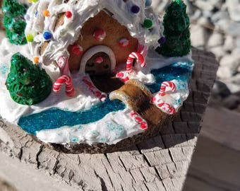 Miniature Polymer Clay Gingerbread house scene