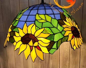 """Stained glass Tiffany lamp """"sunflowers"""""""