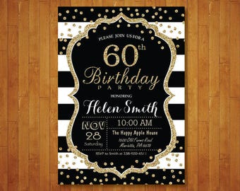 60th Birthday Invitation for women. Surprise 60th Birthday. Black and Gold Glitter. Black Stripes. Confetti. Any age. Printable Digital.