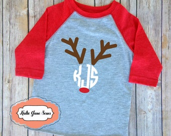 Christmas Tshirt, Christmas Reindeer Monogram Tshirt, Holiday Monogram Tshirt, Toddler Christmas Shirt, Kids Clothing