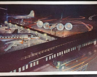 American Airlines DC-6 and Convair Flagships at Night Post Card