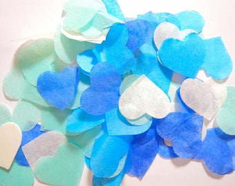 Blue Turquoise ivory heart confetti - stain not - 25 handles (handmade)