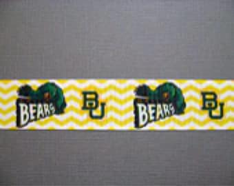 "Baylor Bears Dog Collar - Side Release Buckle (1"" Width) Martingale Option Available"