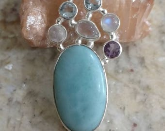 Larimar, Amethyst, Blue Topaz, and Moonstone Pendant Necklace