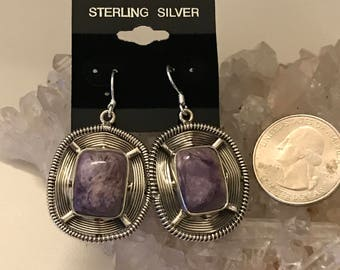 Gorgeous Large Russian Charoite Earrings