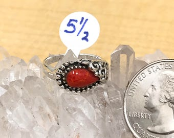 Red Coral Ring, Size 5 1/2