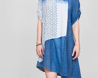 Layered Eyelet Cotton Top with Asymmetrical Hem / XL